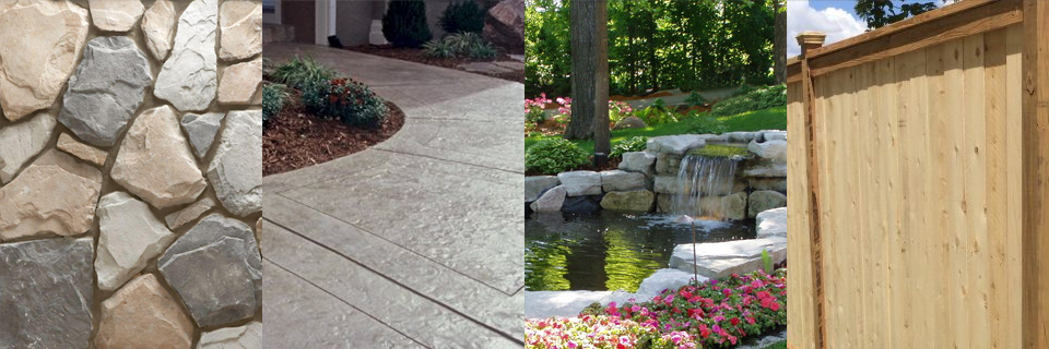 Landscaping stone, concrete, water, wood